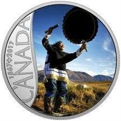 2017 $10 Celebrating Canada's 150th: Drum Dancing (Nunavut) - Pure Silver Coin