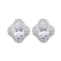 Ladies .925 Silver and Clear Swarovski Element Cluster Earrings.