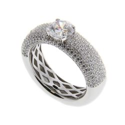 Ladies .925 Silver and Swarovski Element Ring. Size 8.