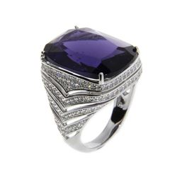 Ladies .925 Silver and Amethyst Swarovski Element Ring. Size 7.