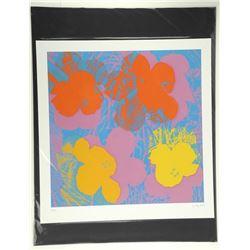 Andy Warhol  Flowers . Bio au Verso. Approx. 18x16 .