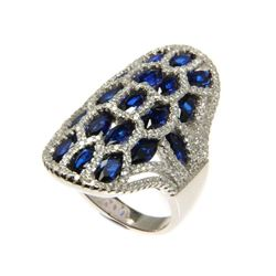 Ladies .925 Silver and Sapphire Blue Swarovski Element Ring. Size 7.