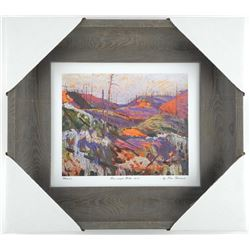 "Tom Thomson ""Fire-swept Hills 1915"" Studio Litho Panel. Gallery Framed. Approx. 13x15"""