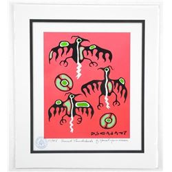 Norval Morrisseau (1931-2007)  Sacred Thunderbirds  Giclee. 11x13 . Certified and Bio Au Verso.
