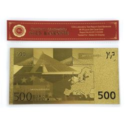 "Euro ""500"" 24kt Gold Leaf Note with COA."