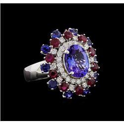14KT White Gold 3.58 ctw Tanzanite, Sapphire, Ruby and Diamond Ring