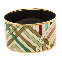 Hermes Beige Multicolor Enamel Gold Plated Extra Wide Bangle Bracelet