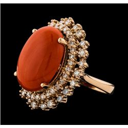 9.68 ctw Coral and Diamond Ring - 14KT Rose Gold
