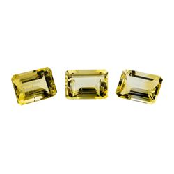 21.17 ctw.Natural Emerald Cut Citrine Quartz Parcel of Three