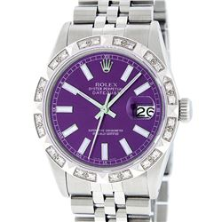 Rolex Mens Stainless Steel 36MM Purple Index Pyramid Diamond Datejust Wristwatch