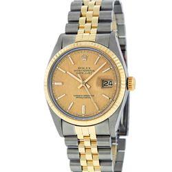 Rolex Mens 2 Tone 14K Champagne Linen Index 36MM Datejust Wristwatch With Rolex