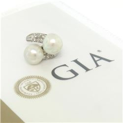 GIA Certified Solid Platinum Pearl & Diamond Bypass Cocktail Ring