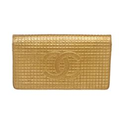 Chanel Gold Textured Leather CC Flap Bi Fold Wallet