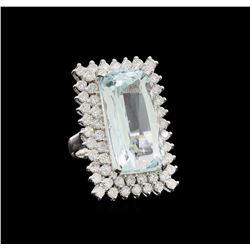 14KT White Gold 16.49 ctw Aquamarine and Diamond Ring