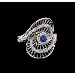 0.27 ctw Sapphire and Diamond Ring - 14KT White Gold