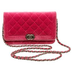 Chanel Pink Velvet Boy Bag Wallet On Chain WOC Crossbody Bag