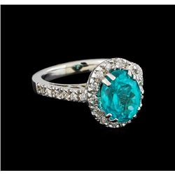 3.3 ctw Apatite and Diamond Ring - 14KT White Gold