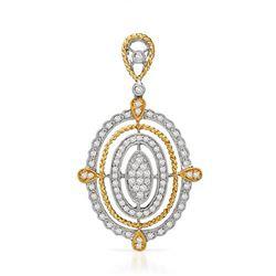 18k Two Tone Gold 0.66CTW Diamond Pendant, (SI1-SI2/G-H)