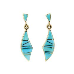 Inlaid Turquoise Dangle Earrings - 14KT Yellow Gold