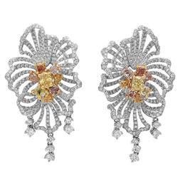 18k Three Tone Gold 6.01CTW Multicolor Dia, Pink Diamond and Diamond Earrings, (