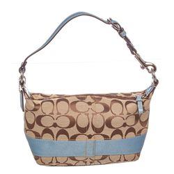 Coach Brown Monogram Canvas Patent Leather Trim Mini Baguette Handbag