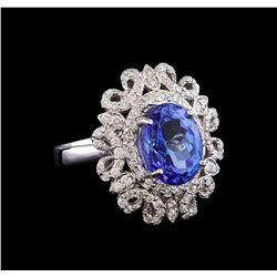 5.78 ctw Tanzanite and Diamond Ring - 14KT White Gold