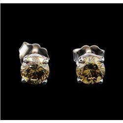 14KT White Gold 1.22 ctw Fancy Brown Diamond Stud Earrings