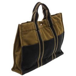 Hermes Green Navy Canvas Sac Fourre MM Tote Bag