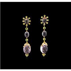 36.43 Morganite, Periodot, and Diamond Earrings - 18KT Rose Gold