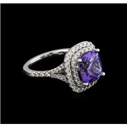 4.12 ctw Tanzanite and Diamond Ring With Chain - 14KT White Gold