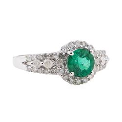 1.02 ctw Emerald and Diamond Ring - 14KT White Gold