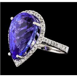 GIA Cert 14.31 ctw Tanzanite and Diamond Ring - 14KT White Gold