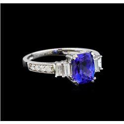 14KT White Gold 1.28 ctw Tanzanite and Diamond Ring