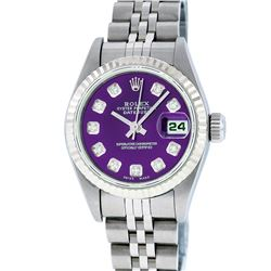 Rolex Ladies Stainless Steel Purple Diamond Quickset Datejust Wristwatch