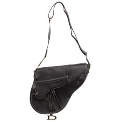 Christian Dior Black Leather Large Saddle Bag Crossbody