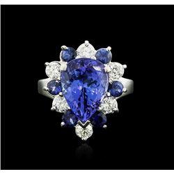 14KT White Gold 4.80 ctw Tanzanite, Sapphire and Diamond Ring