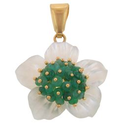 18k Yellow Gold  0.00CTW Mother Of Pearl and Emerald Pendant