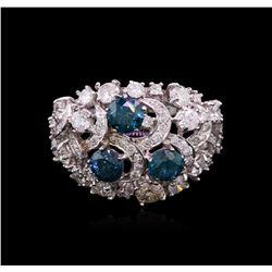 3.41 ctw Fancy Greenish Blue Diamond Ring - 14KT White Gold