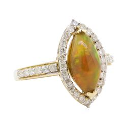 1.73 ctw Opal and Diamond Ring - 14KT Yellow Gold