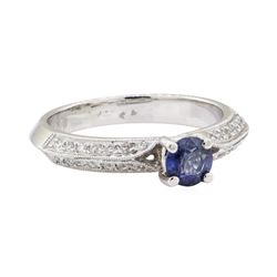 0.75 ctw Sapphire and Diamond Ring - 18KT White Gold