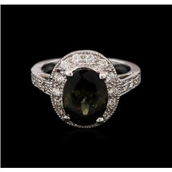 4.03 ctw Tourmaline and Diamond Ring - 14KT White Gold