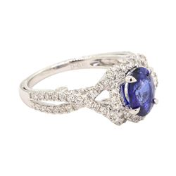 1.36 ctw Sapphire and Diamond Ring - 18KT White Gold