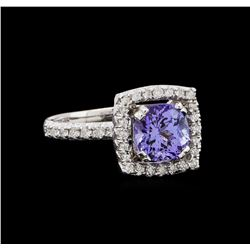 14KT White Gold 2.43 ctw Tanzanite and Diamond Ring