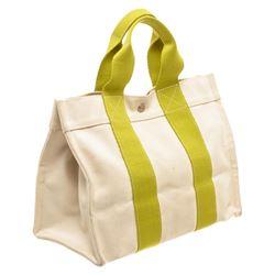 Hermes Cream Green Canvas Bora Bora PM Tote Bag