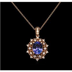 3.95 ctw Tanzanite and Diamond Pendant With Chain - 14KT Rose Gold