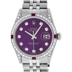 Rolex Mens Stainless Steel Diamond Lugs Purple Diamond & Ruby Datejust Wristwatc