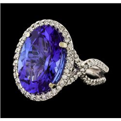 10.85 ctw Tanzanite and Diamond Ring - 14KT White Gold