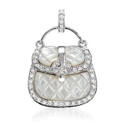18k White Gold 0.45CTW Mother Of Pearl and Diamond Pendant, (I1-I2/White/H-I)
