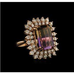 10.91 ctw Ametrine and Diamond Ring - 14KT Rose Gold