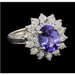 2.17 ctw Tanzanite and Diamond Ring - 14KT White Gold